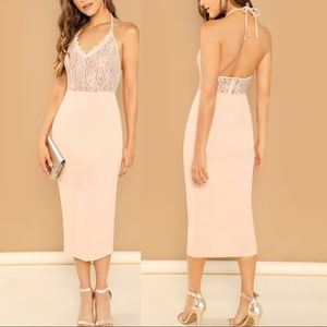 Nude Lace Midi Dress